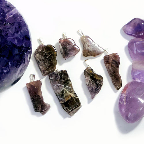Seven Minerals in One Stone Free-form Slab Pendants