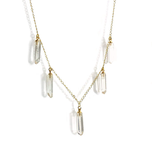 "Crystal Quartz Point Finished Necklace - 18"" Chain in Gold/Silver Plating (NBOX1)"