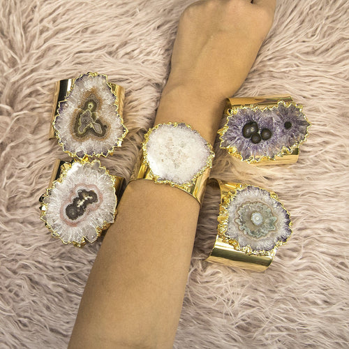 Amethyst Stalactite Cuff Bracelet 24k Gold Electroplated -  (RK116B7)