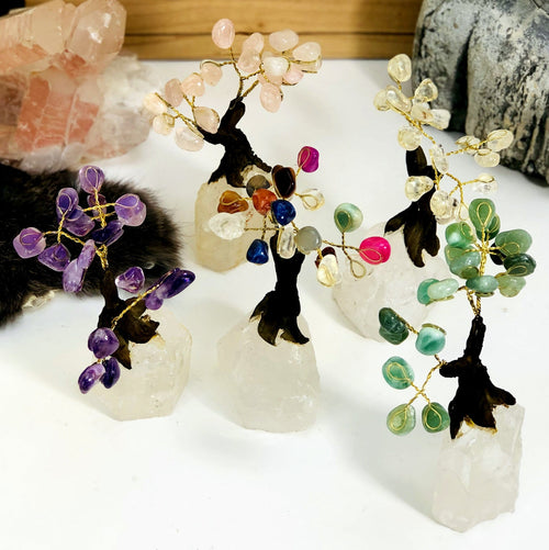 Stone Tree on Crystal Quartz Base - Choose your Crystal (HW4-13)