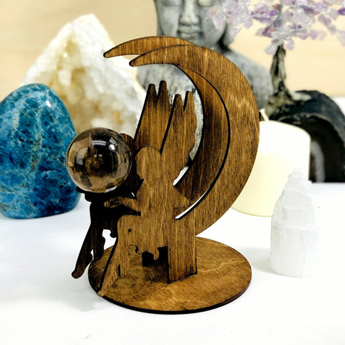 Fairy and Moon Wooden Sphere Stand