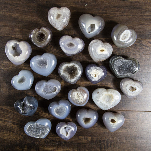 Agate Druzy Hearts - Natural Stone Hearts (RK174B4)