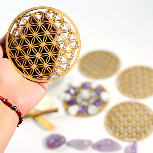 Crystal Grid Flower of Life Wooden Mini-Grid (BR-84)