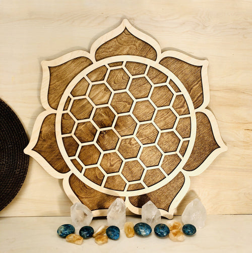 Lotus Flower Tray Wooden Grid (OF2-B5-01)