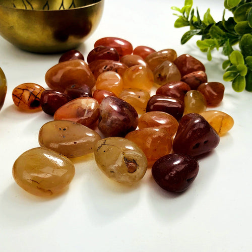 1/2 lb Carnelian Tumbled Gemstones - Polished Orange Stones - Jewelry supplies - Arts and Crafts