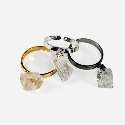 Crystal Quartz Dangling Chunk Ring in Electroplated 24k Gold/ Gun Metal/ Silver (RK137)