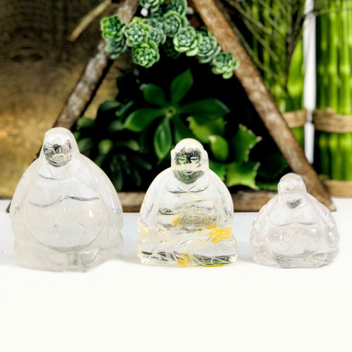 Crystal Quartz Buddha Mini Statue - By Weight (WRHS1-S2)