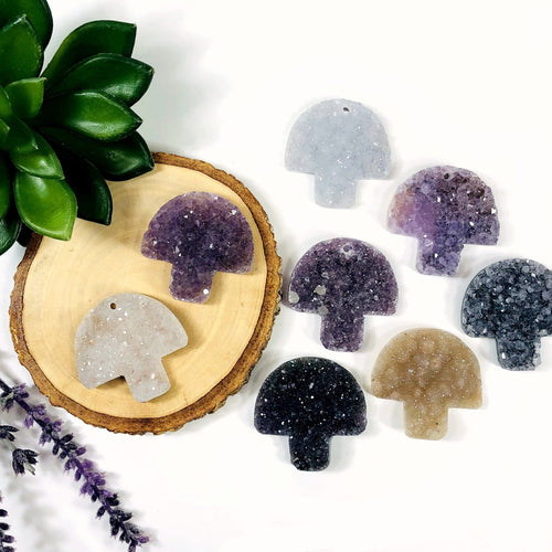 Druzy Mushroom Shaped Large Cabochon - DRILLED AND UNDRILLED (RK94B16)