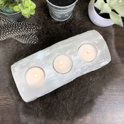 Selenite Candle Holder - 3 Votives