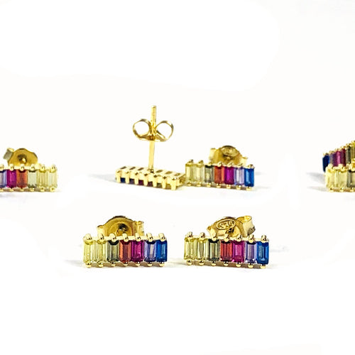 Chakra Rainbow Studs CZ Gold Over Sterling Earrings (RK137B7-12)
