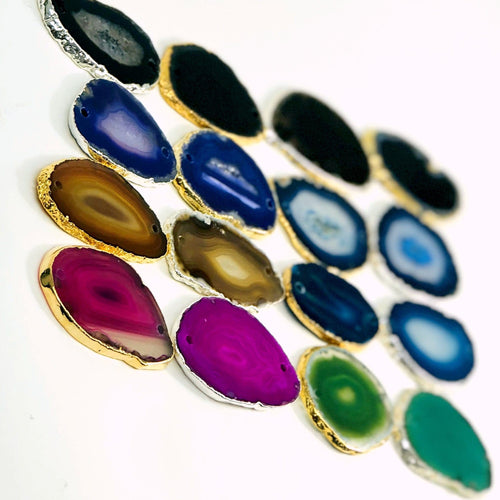 Agate Slice Plated Edge Double Drilled Pendants  (OF2-S18)