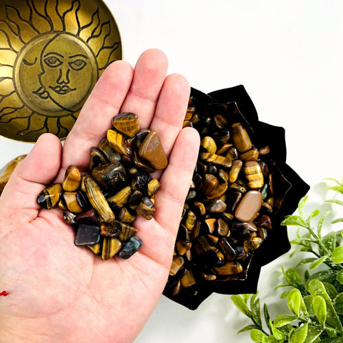 1 lb Bag Tiger Eye Chips  Small Tumbled Stones - Choose 1,3,5 Bags (TS-09)