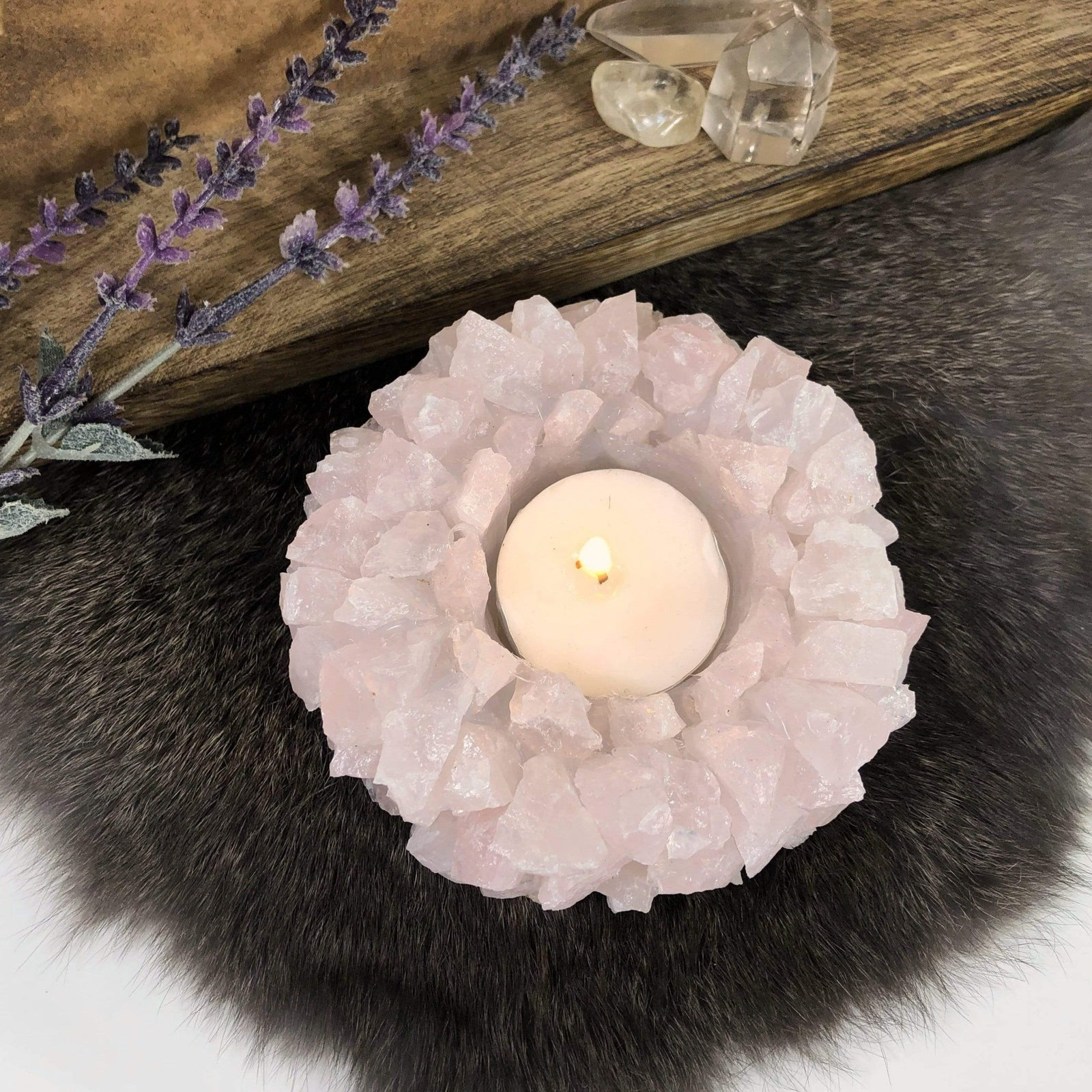 Rose Quartz Candle Holder (HW4-03-RQ)