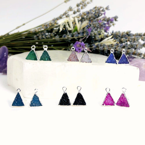 Druzy Triangle Stud Earrings in Electroplated Silver Edge (EBOX24)