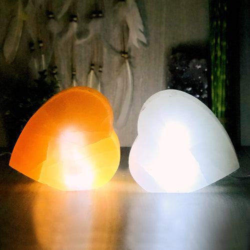 Selenite Heart Shaped Lamps (RK804)