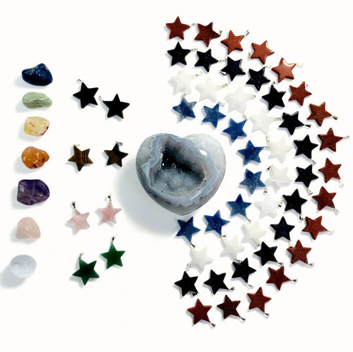 Gemstone Star Pendants with Silver Toned Bail (RK3000B6)