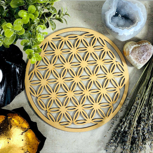 Crystal Grid Flower of Life Wooden Grid (BR-81)