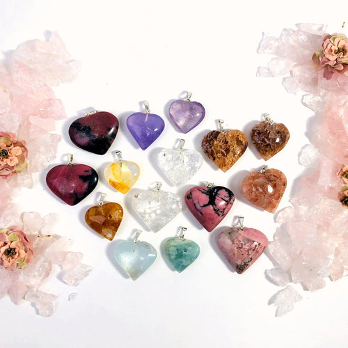 Gemstone Heart Pendants with Silver Toned Bail (RK109B22)