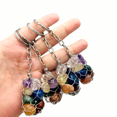 Seven Stone Chakra Tumbled Stone Keychain - Gold and Silver Toned Keychains