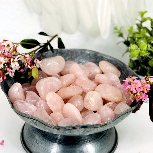 10 Pieces of Rose Quartz Tumbled Stones - Large Polished Beauties - Buy in Bulk! - (TS-103)