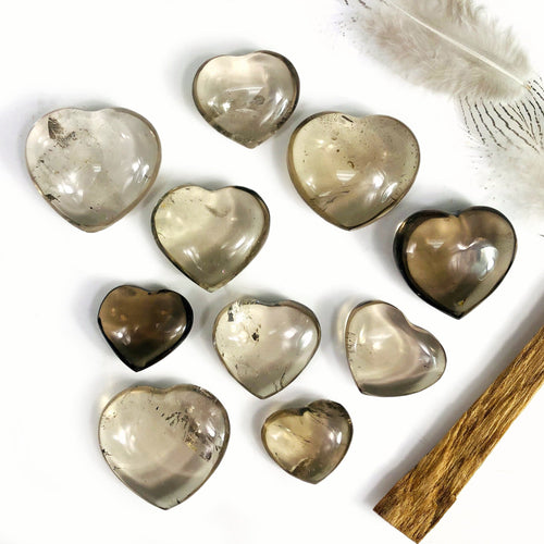 Smokey Quartz Polished Hearts (RK704B3)