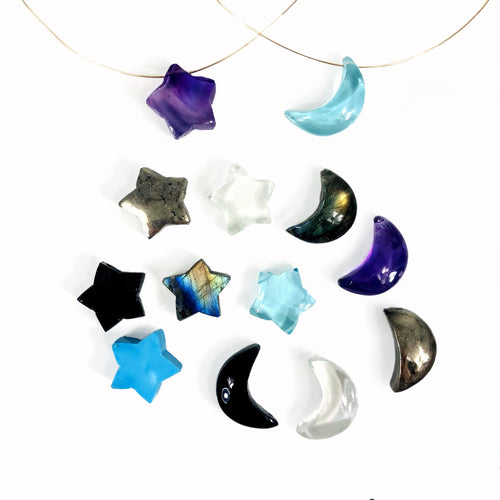 Gemstone Star and Moon Drilled Beads (RK110B2)