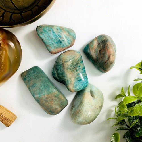 Amazonite Tumbled Large Stones - Gardening - Jewelry Making - Decor
