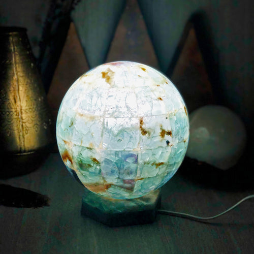 Rainbow Fluorite Sphere Lamps - Small