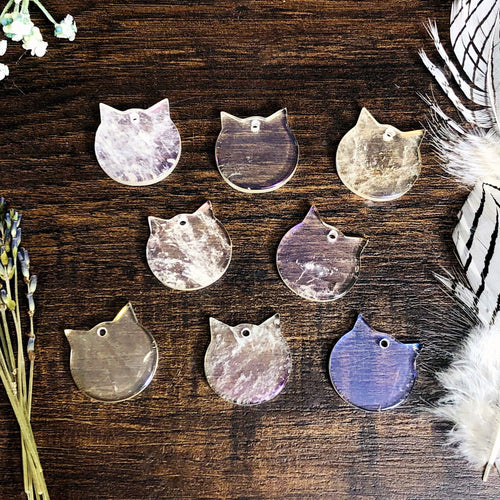 Crystal Quartz Titanium Coated Cat Pendant - Angel Aura (RK138B7-07)