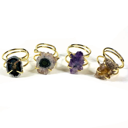 Amethyst Stalactite Slice Adjustable Ring Electroplated 24k Gold (RK137B7-13)