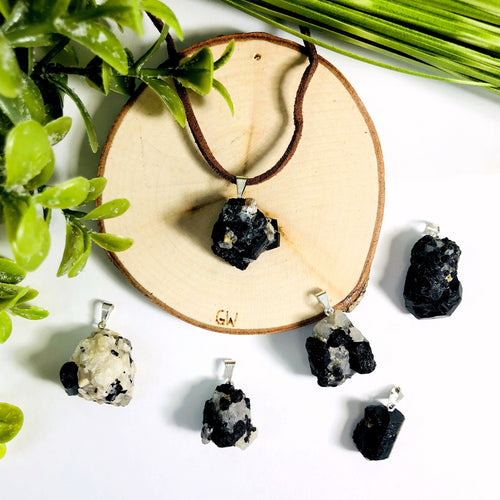 Black Tourmaline on Matrix Pendants (RK78B14-05)