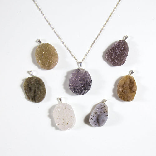 Druzy Cabochon Pendant with Silver or Gold Plated Bail (RK94B10)