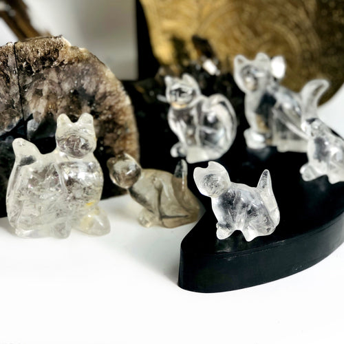 Crystal Quartz Cat Mini Statues - By Weight (WRHS1-S2)