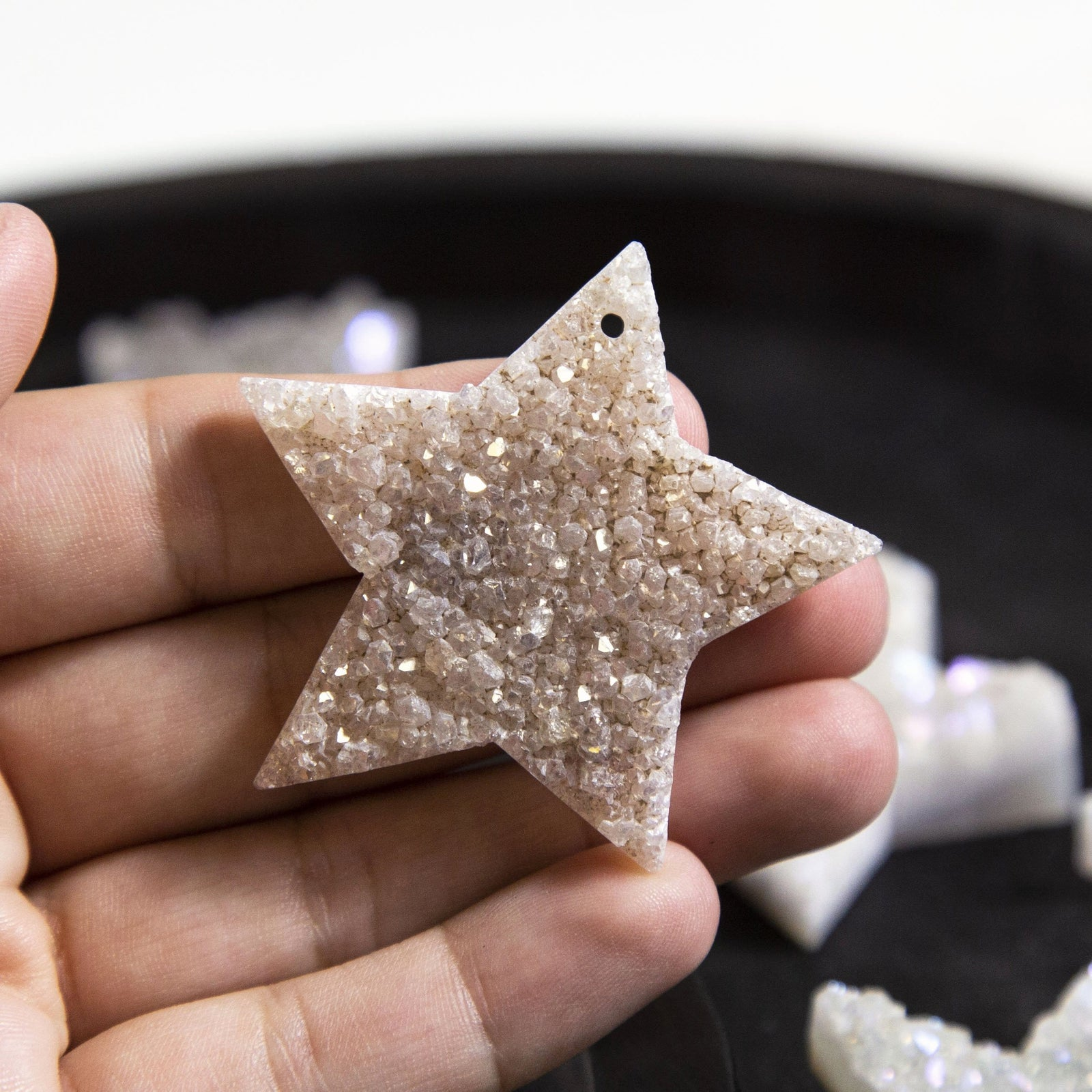 Star Shaped Druzy Pendant Cabochon - Drilled - (RK94B11-04)