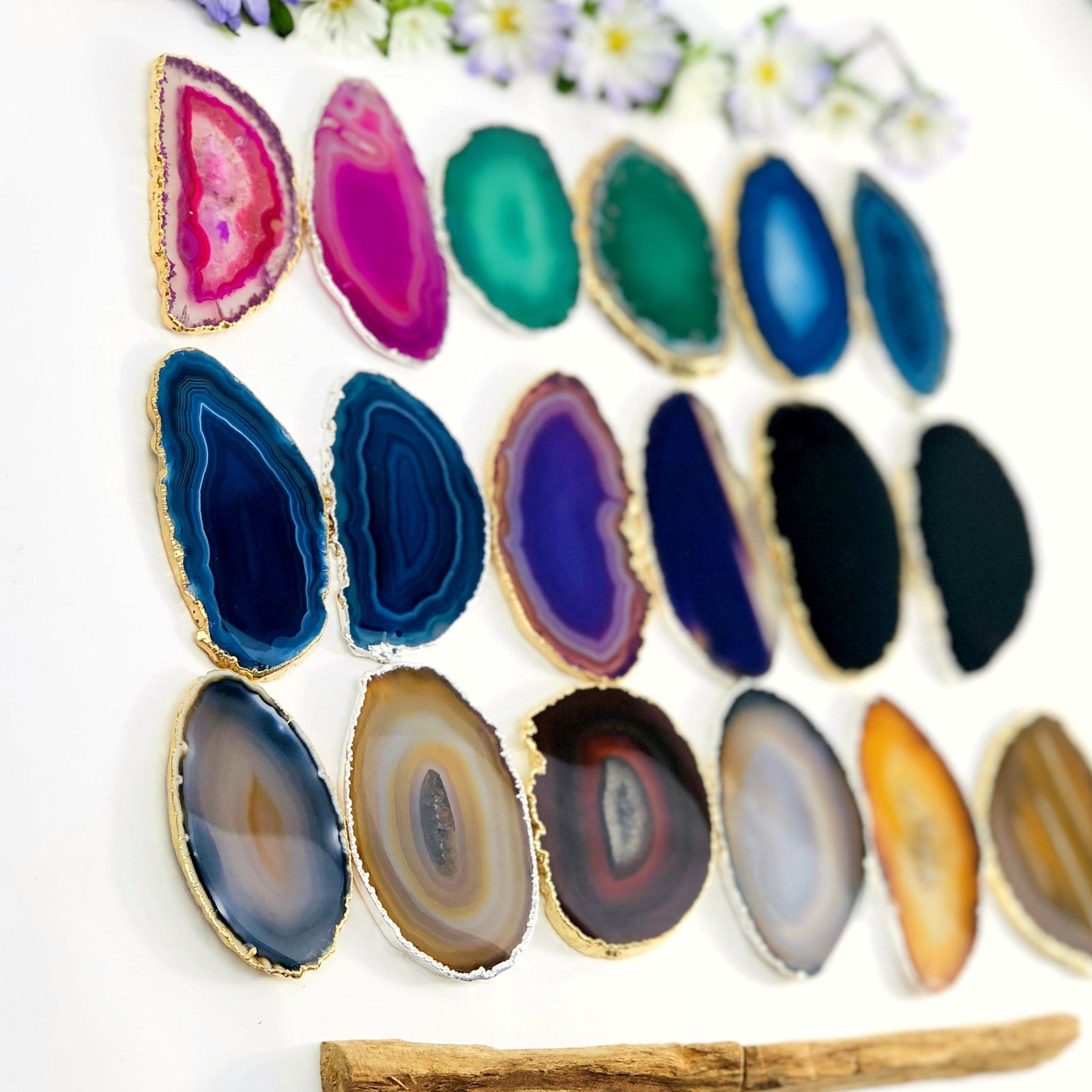 Agate Slice Plated Edge - Wedding Place cards Pop Sockets Agates (OF2-S14)