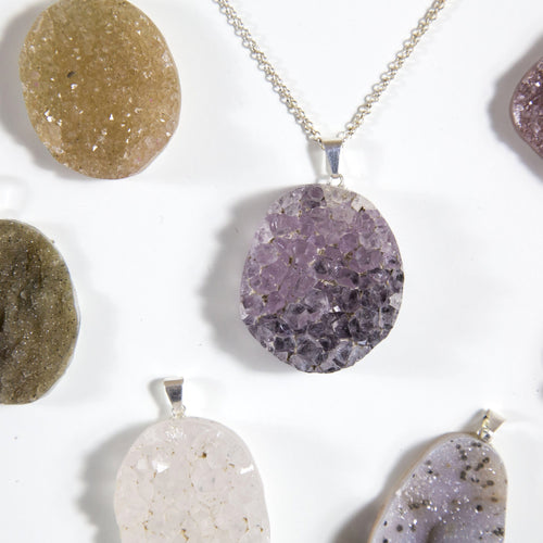 Druzy Cabochon Pendant with Silver or Gold Plated Bail - Freeform - Healing Crystals (RK94B10)