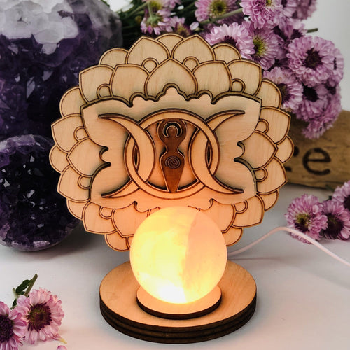 Earth Goddess and Moon Wooden Sphere Stand Lamp
