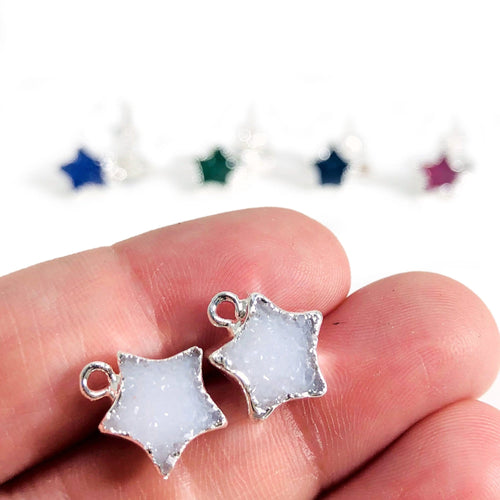 Druzy Star Stud Earrings in Electroplated Edge YOU CHOOSE COLOR (EBOX23)