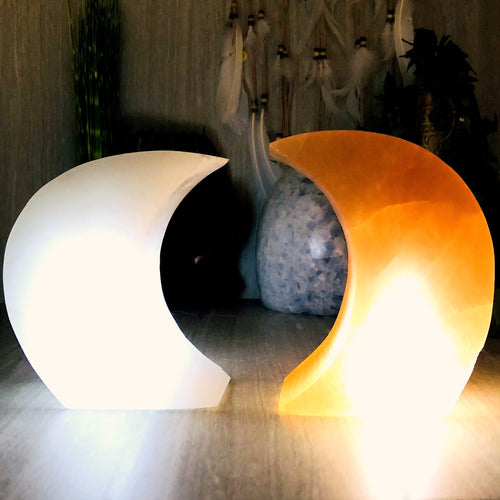 Selenite Moon Shaped Lamps (RK804)