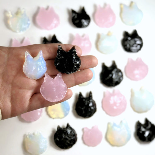 Cats Rose Quartz Glass Natural Black Obsidian and Opalite