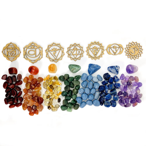 Crystal Grid Set 7 Chakra Wooden Symbols - Set (BR-83)