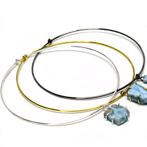 Larimar Choker Necklace in Gold, Silver, and Oxidized Silver Tone (S11B29)