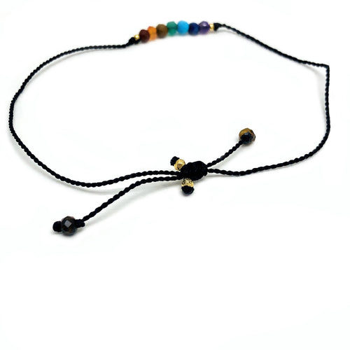 Chakra Finished Bracelet with 2 Electroplated 24k Gold Beads (RP5044-01)