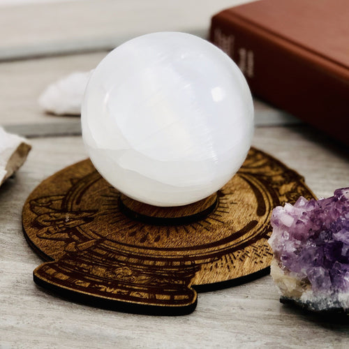 Psychics Crystal Ball Wooden Sphere Stand