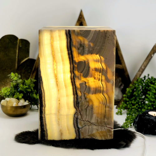 Mexican Onyx Tall Squared Lamp