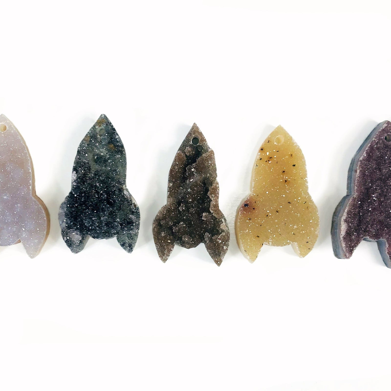 Druzy Rocket Shaped Cabochons - DRILLED (RK117B2)