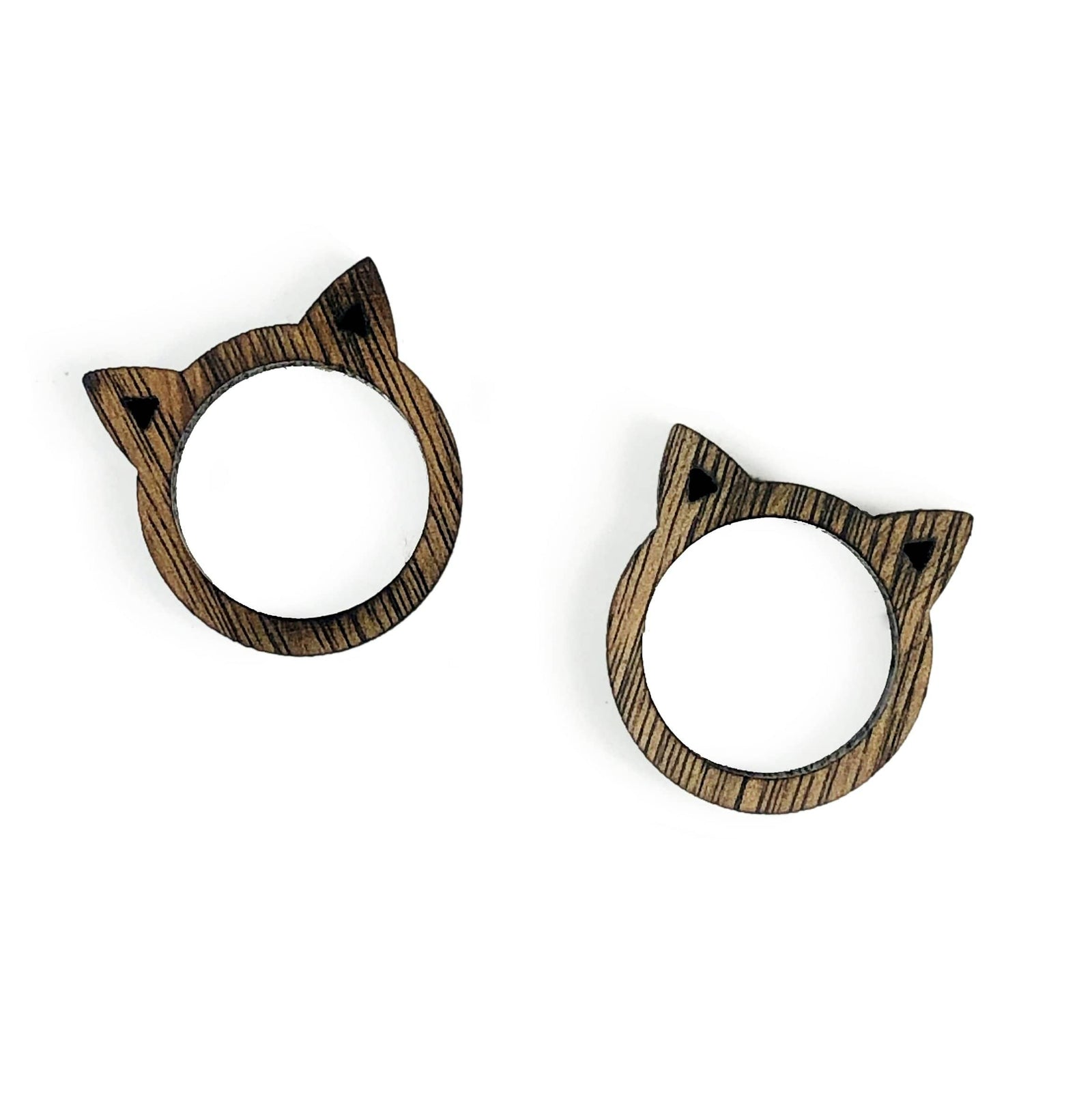 Wooden Cat and Ring Shaped Rings (RK178B1)