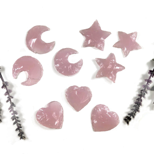 Rose Quartz Colored Glass Hearts Moons and Stars