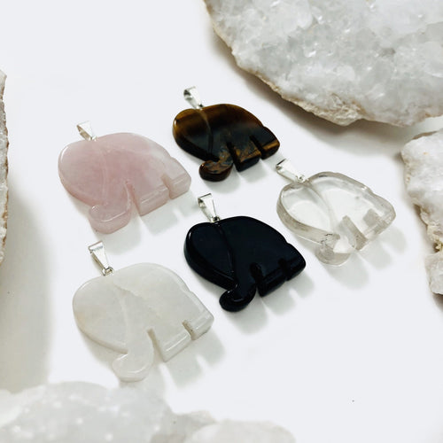 Elephant Pendants Assorted Gemstones (RK93B8)