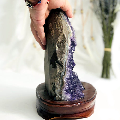 Amethyst Cluster on Wooden Base (WHTSLF-48-01)